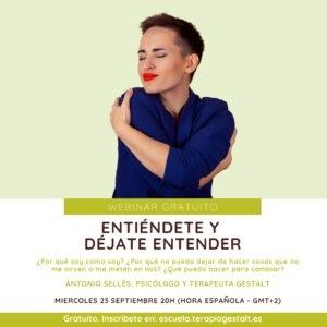 Cartel del Webinar Entiéndete y déjate entender - 23 septiembre 2020 - Imparte Antonio Sellés | Escuela Gestalt Online - Proyecto del Instituto de Terapia Gestalt de Castellón