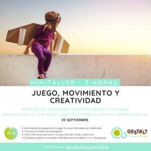 Cartel del Minitaller Juego, Movimiento y creatividad - 25 septiembre 2020 - Imparte Altea Selles | Escuela Gestalt Online - Proyecto del Instituto de Terapia Gestalt de Castellón