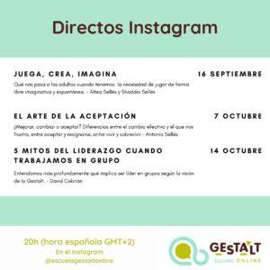 Directos de Instagram en septiembre y octubre